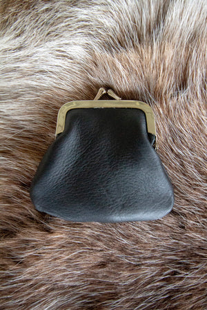 Kinos Design`s black silky soft reindeer leather coin purse made in Finland.