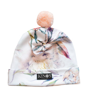 Multi color Peonies Pampula Beanie by Kinos Design made in Finland