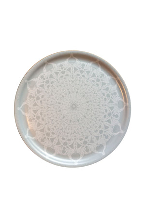 Snowflake round wooden tray by Kinos Design made in Finland