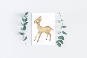 Bambi painted art postcard by Kinos Design made in Finland