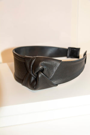 Black reindeer leather hairband by Kinos Design made in Finland