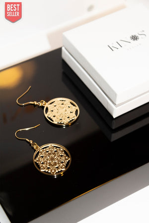 Mandala Sun Earrings Gold