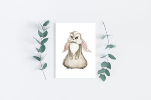 Bunny painted art postcard by Kinos Design made in Finland