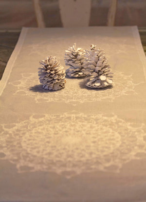 Snowflake Linen Table Runner Table Clothe
