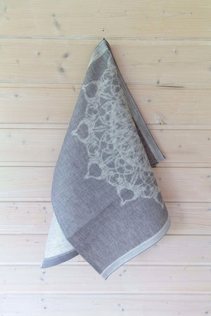 Snowflake Linen Tea Towel Lightgrey Table Clothe