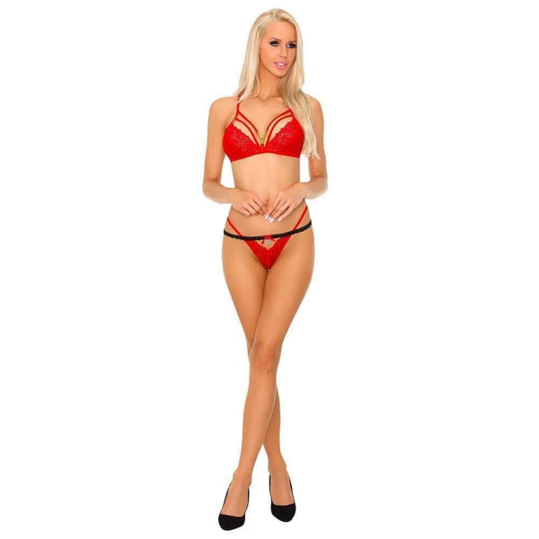 Corsetti Tarinas Red Bra and Panty Set - Adult Planet
