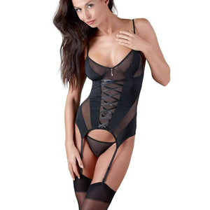 Cottelli Black Basque Suspender Set - Adult Planet