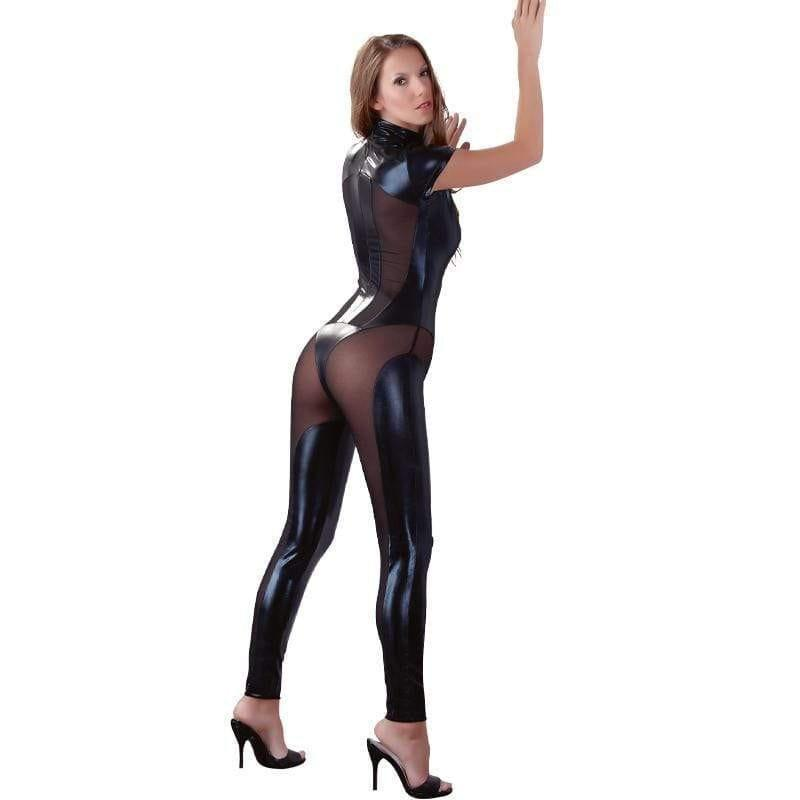 Cottelli Collection Wetlook And Mesh Jumpsuit - Adult Planet