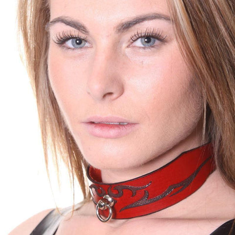 House Of Eros Lace Up Red Leather Tribal Collar Wide - Adult Planet