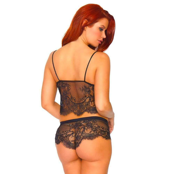 Leg Avenue Eyelash Lace Cami and Boy Shorts - Adult Planet