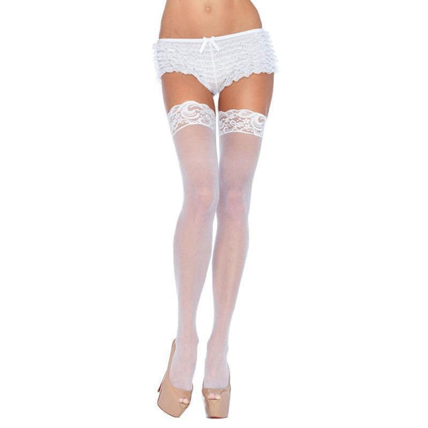 Leg Avenue Plus Size Sheer Thigh Highs White UK 16 to 18 - Adult Planet