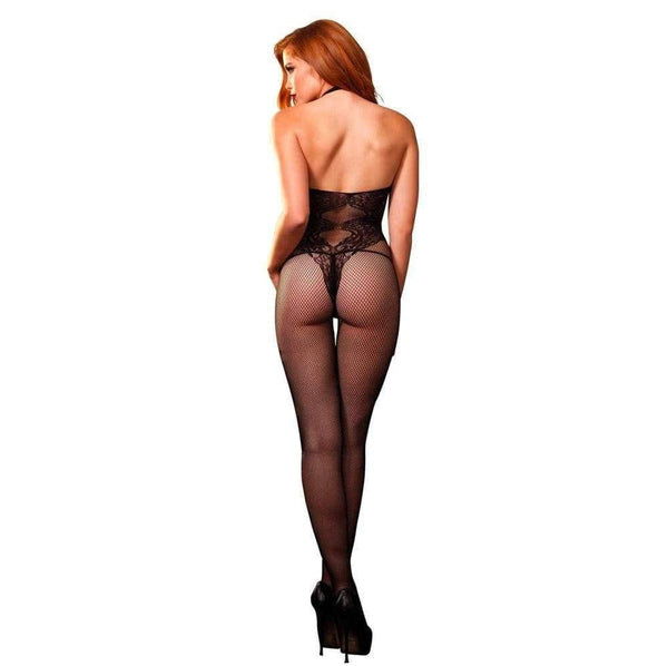 Leg Avenue Seamless Halter Body Stocking Black UK 8 to 14 - Adult Planet