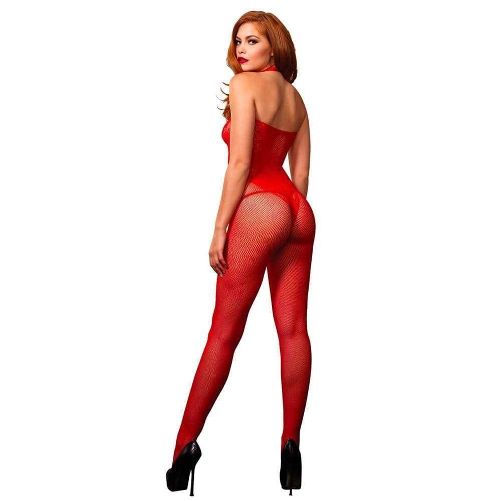 Leg Avenue Seamless Halter Body Stocking Red UK 8 to 14 - Adult Planet
