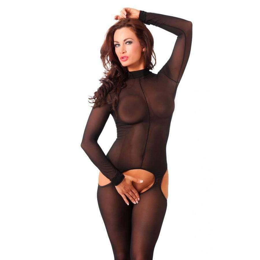 Sensual Black Open Crotch Catsuit - Adult Planet