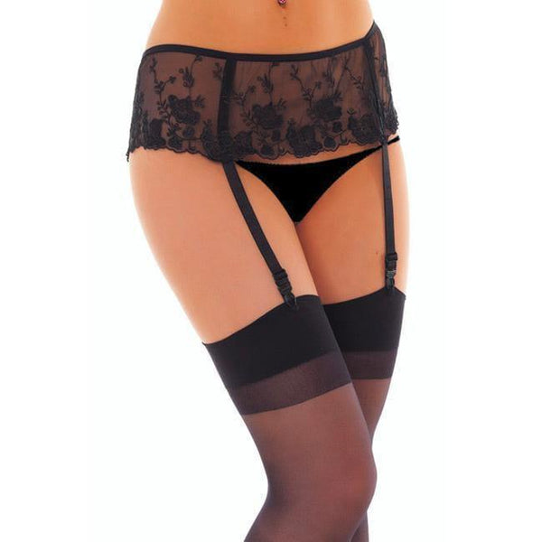Black Floral Suspenderbelt And Stockings - Adult Planet