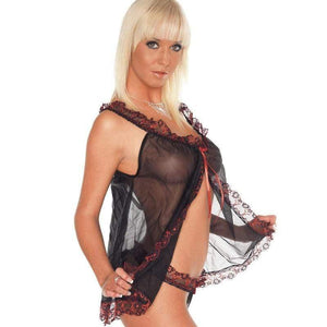 Black Baby Doll With Red Lace Trim And Matching Briefs One Size - Adult Planet