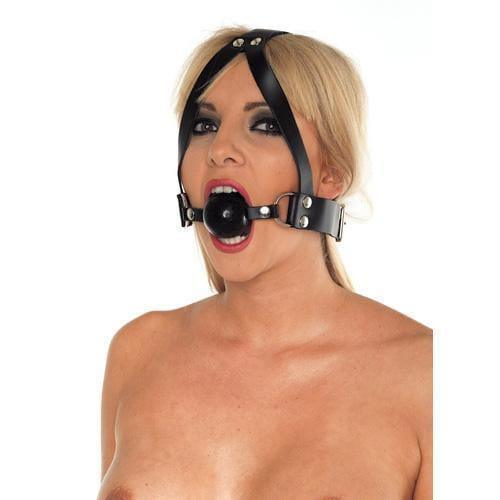Leather Ball Gag And Head Harness - Adult Planet