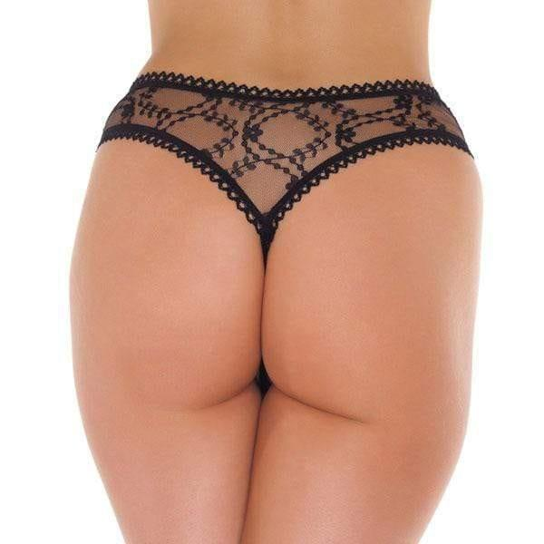 Sheer Pattern Crotchless Black GString - Adult Planet