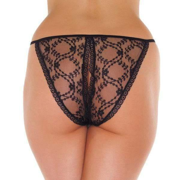 Lace Black Crotchless Tanga - Adult Planet