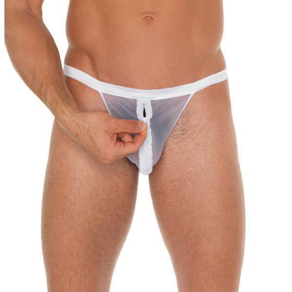 Mens White Mesh Pouch With GString - Adult Planet