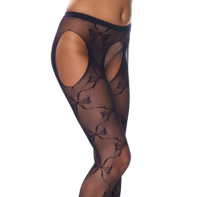 Crotchless Black Fishnet Lace Detail Tights - Adult Planet