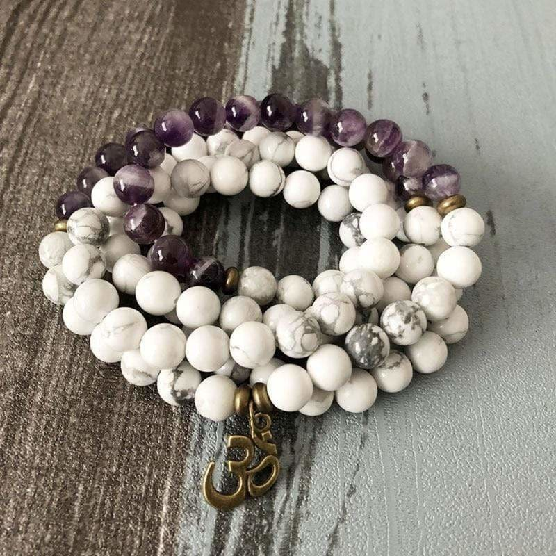 Load image into Gallery viewer, Howlite 108 Bead Meditation Om Bracelet - SOUL IMPACTFUL