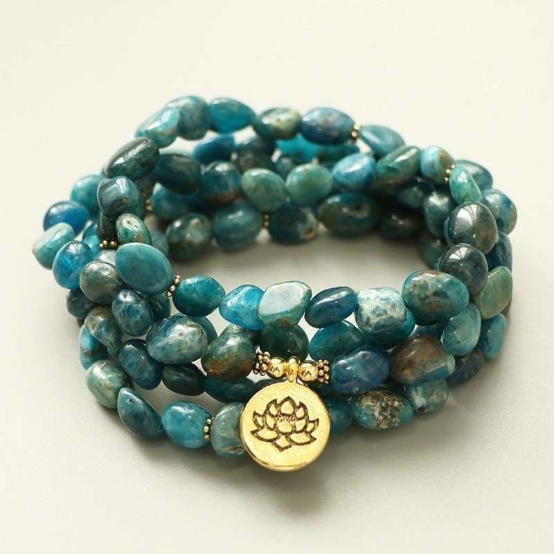 Load image into Gallery viewer, Natural Apatite Stone 108 Bead Meditation Bracelet - SOUL IMPACTFUL