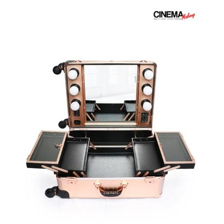 Portable Lighted Makeup Studio w/Mirror (Rose Gold)