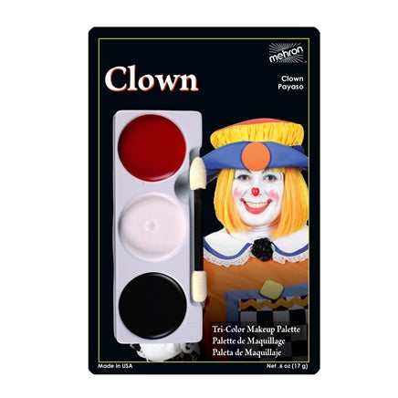 CLOWN- Mehron Tri-Color Character Makeup Palette