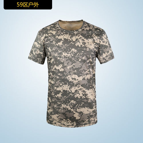 Camouflage T shirt Men Breathable Army Tactical Combat Military Dry Camo