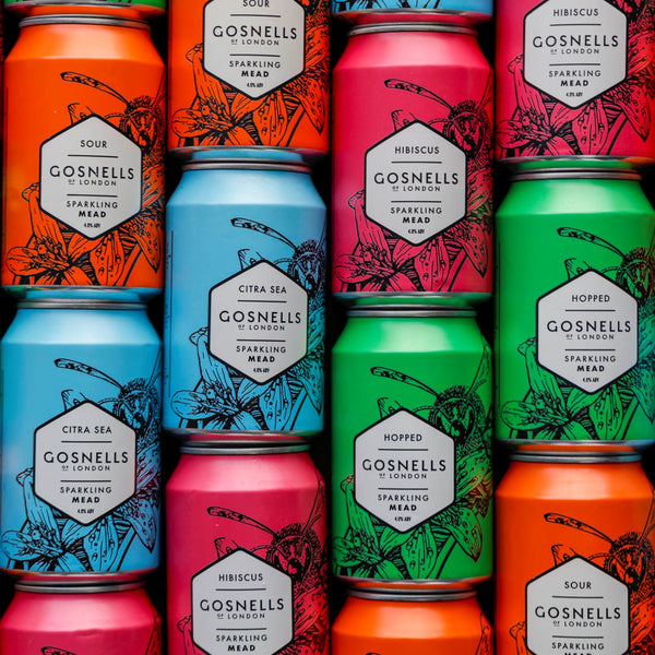 Buy a mixed case of 12 or 24 cans of our 4 different flavoured Gosnells meads.