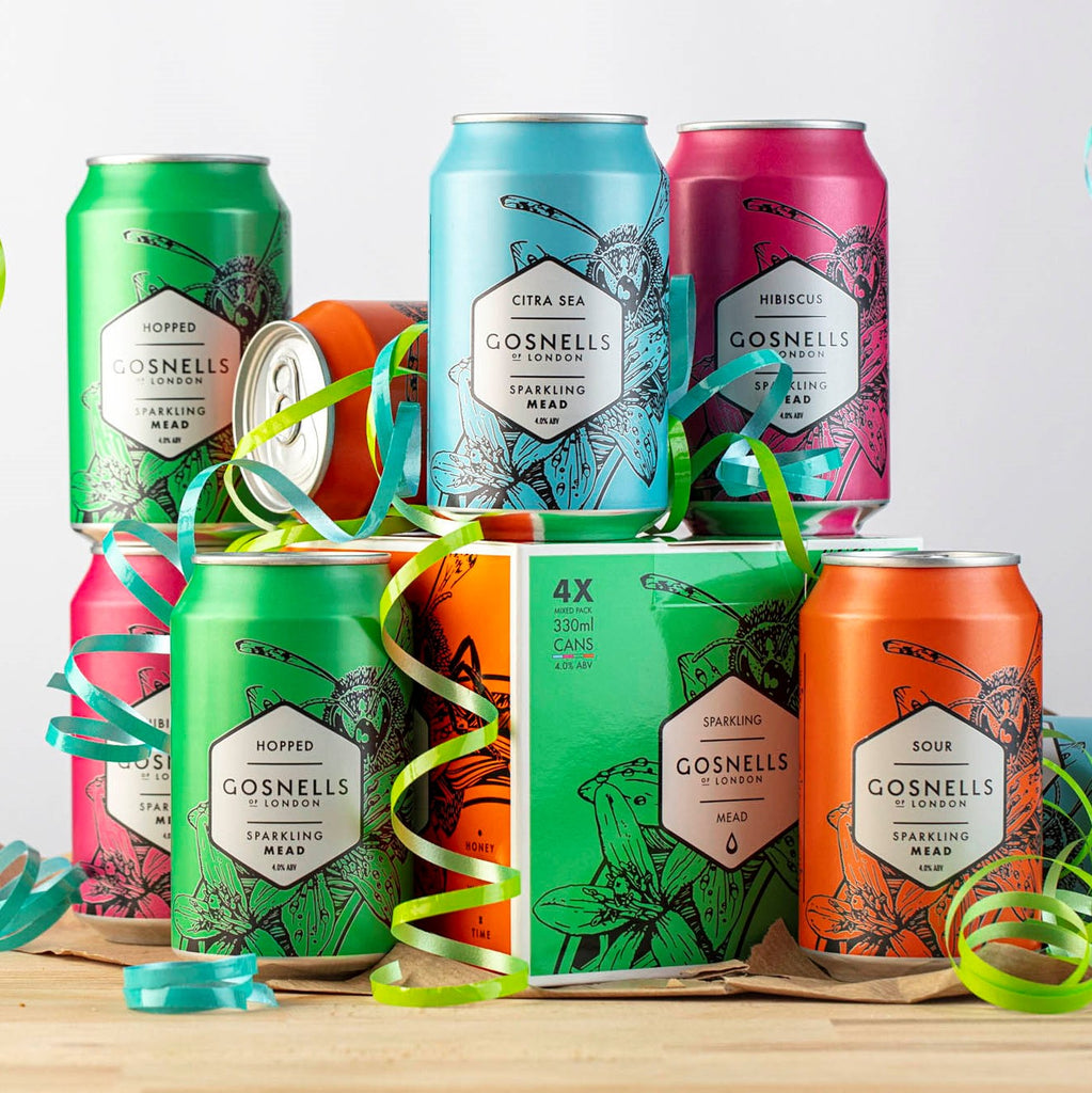 Our 4 core Sparking meads in cans.