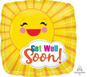 Foil Balloon Square Get Well Soon Sunbeam 43cm