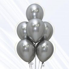 "Party Balloons 12"" 5 Pack Reflex Silver"