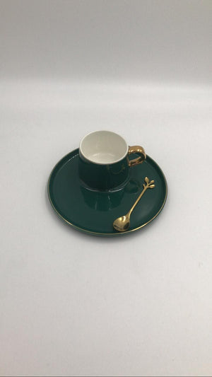 Ceramic Cup & Saucer Set Round Bottle Green-Gold