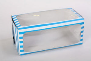Muffin Boxes With Window Blue Stripe 20x10cm