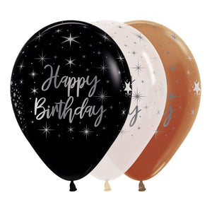 "Happy Birthday Latex Balloons Radiant FS Ass 12"" Pack Of 5"""