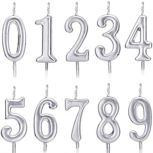 Number Candle 0-9 Silver