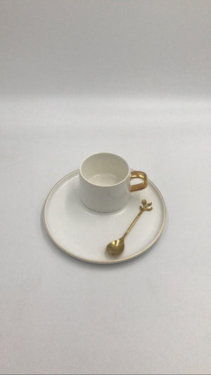 Ceramic Cup & Saucer Set Round White-Gold