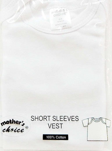 Mothers Choice Infants Short Sleeves Vest White 3-6 Months