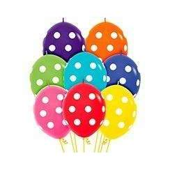 BALLOONS 12PK ASSORTED POLKA DOT