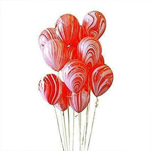 BALLOONS MARBLE RED 4PK