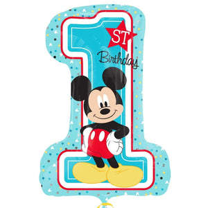 BIG FOIL BALLOON 1ST BIRTHDAY MICKEY MOUSE (48cm X 71cm) 34343