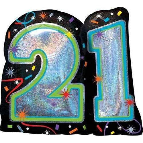BIG FOIL BALLOON 21ST BIRTHDAY (66cm X 68cm) 32116