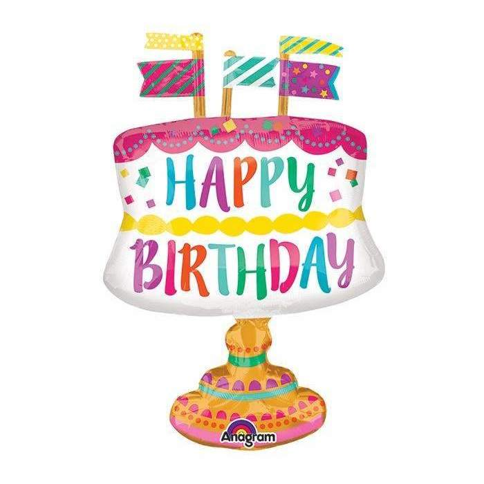 BIG FOIL BALLOON HAPPY BIRTHDAY CAKE (55cm X 76cm) 33608
