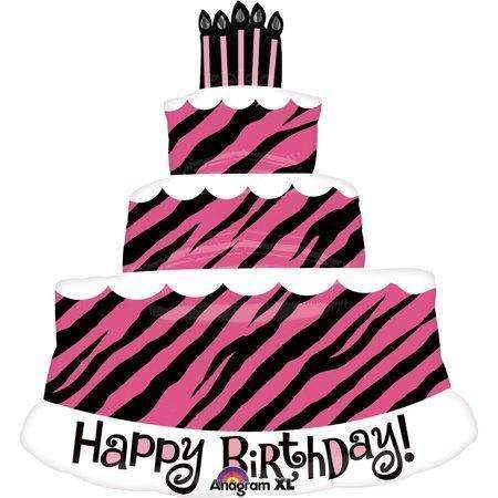 BIG FOIL BALLOON HAPPY BIRTHDAY CAKE PINK (81cm X 71cm) 25233