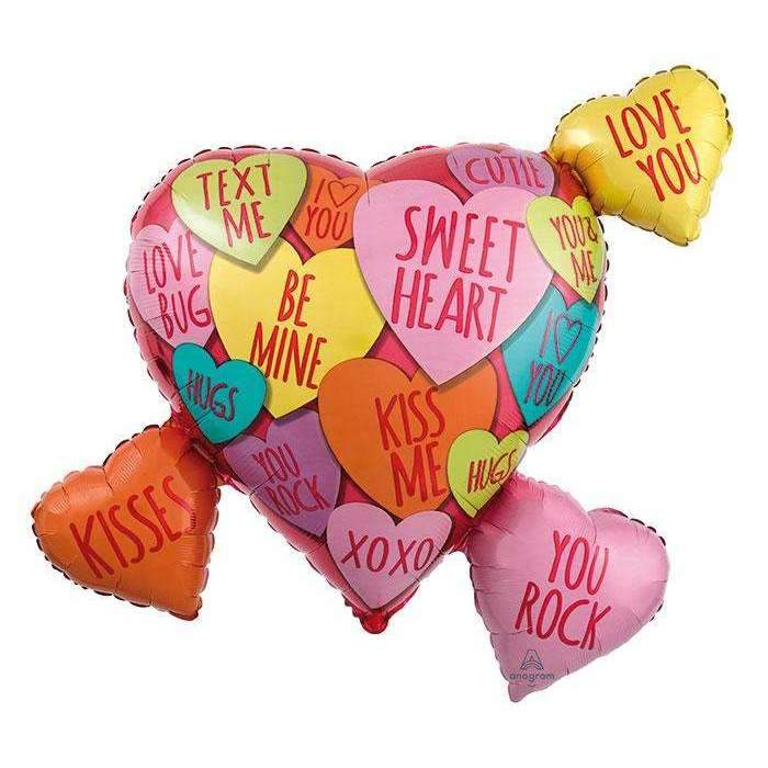 BIG FOIL BALLOON LOVE HEARTS 68cm X 63cm 34156