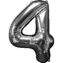 "BIG FOIL BALLOON NO ""4"" SILVER 60X91cm 27984"