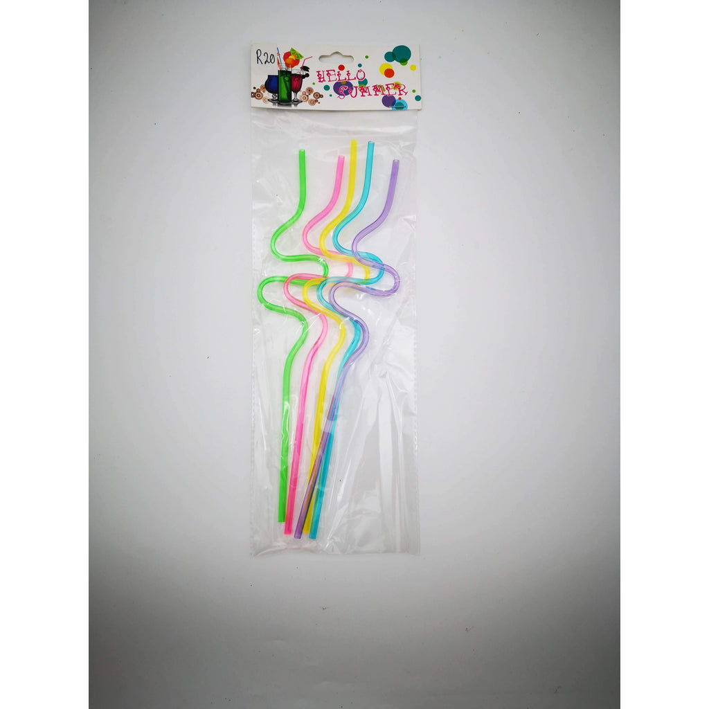 CURLY PLASTIC DRINKING STRAWS 5PC
