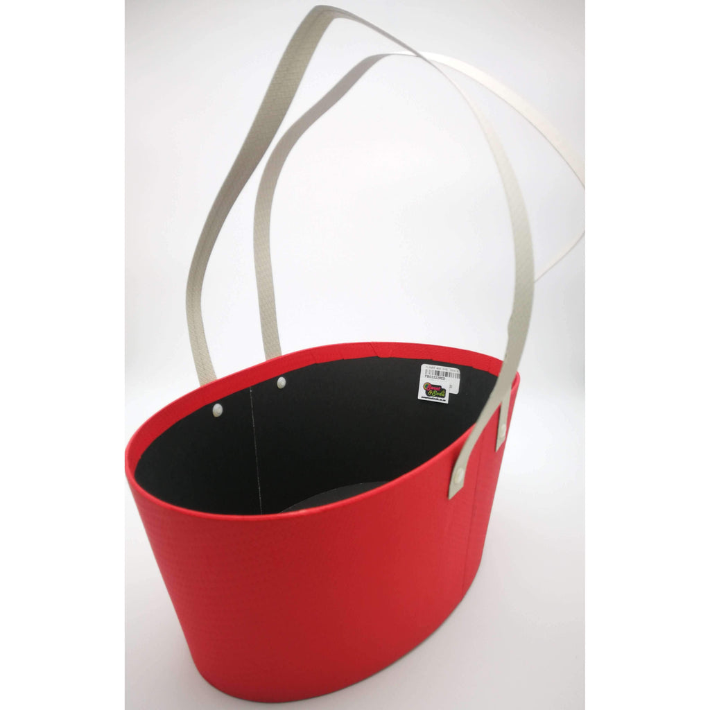 FLOWER BOX OVAL 33cm X 22cm RED
